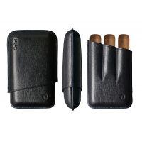 Etui cuir COLIBRI 3 robusto noir / couture bleue C10031