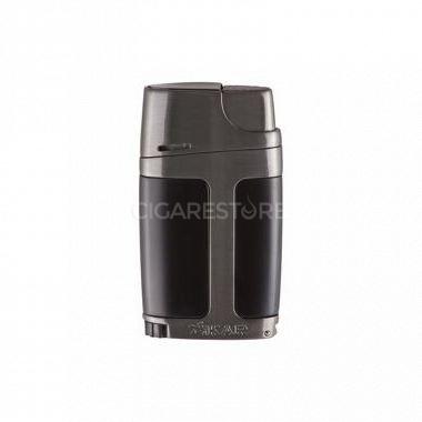 """Briquet cigare double flamme Xikar 550 """"Élément"""" - Noir/GunMetal"""