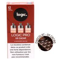 Cartouches Logic.Pro -US Cacao (chocolat) - 1 niveau de nicotine)