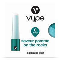 Capsules Saveur ePen* Vype - SAVEUR Pomme On The Rocks ( 4 niveaux de nicotine)