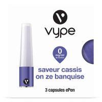 Capsules Saveur ePen* Vype - SAVEUR Cassis on ze Banquise ( 4 niveaux de nicotine)