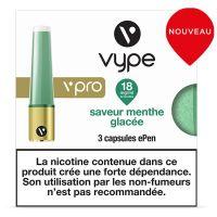 CAPSULES VPRO MENTHE GLACÉE, aux sels de nicotine