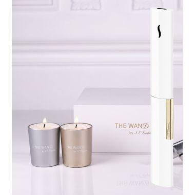 Briquet de table The Wand blanc/or + bougies S.T. DUPONT
