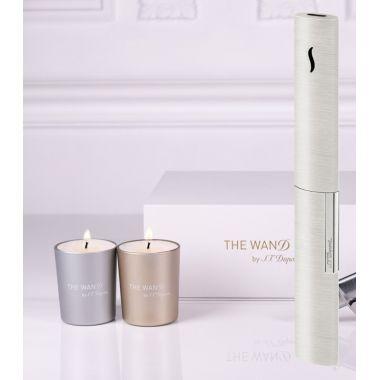 """Briquet de table S.T. Dupont """"The Wand"""" - chrome brossé + bougies"""