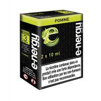 E-liquide e-nergy Pomme (pack 2 flacons, 2 niveaux de nicotine)