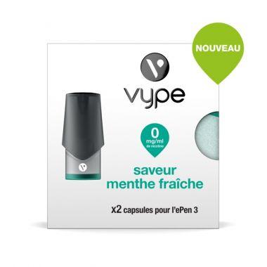 Pods Vype ePen 3 - Saveur Menthe Fraiche (4 niveaux de nicotine)