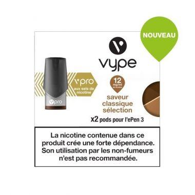 Pods Vype ePen 3 Vpro - Saveur Classique Sélection 12mg aux sels de nicotine