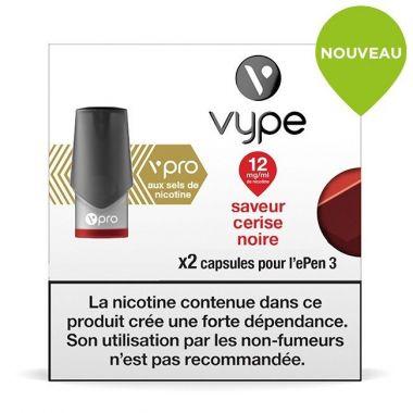 Pods Vype ePen 3 Vpro - Saveur Cerise Noire 12mg aux sels de nicotine