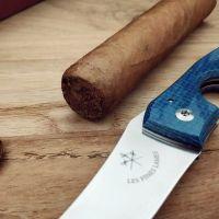 Couteaux coupe cigares Les fines lames - LE PETIT Micarta blue canvas