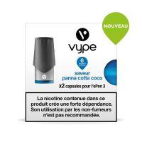 Pods Vype ePen 3 - Saveur Panna Cotta Coco (2 niveaux de nicotine)