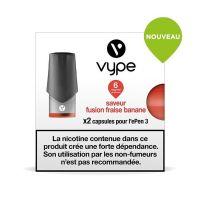 Pods Vype ePen 3 - Saveur Fraise Banane (2 niveaux de nicotine)