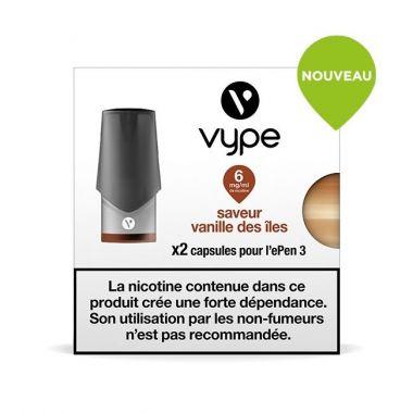 Pods Vype ePen 3 - Saveur Vanille des îles (2 niveaux de nicotine)