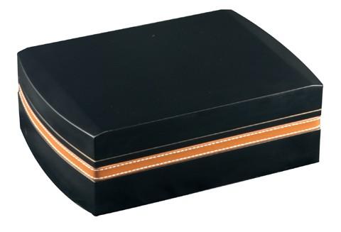 Humidor set noir liseret cuir - Fermé